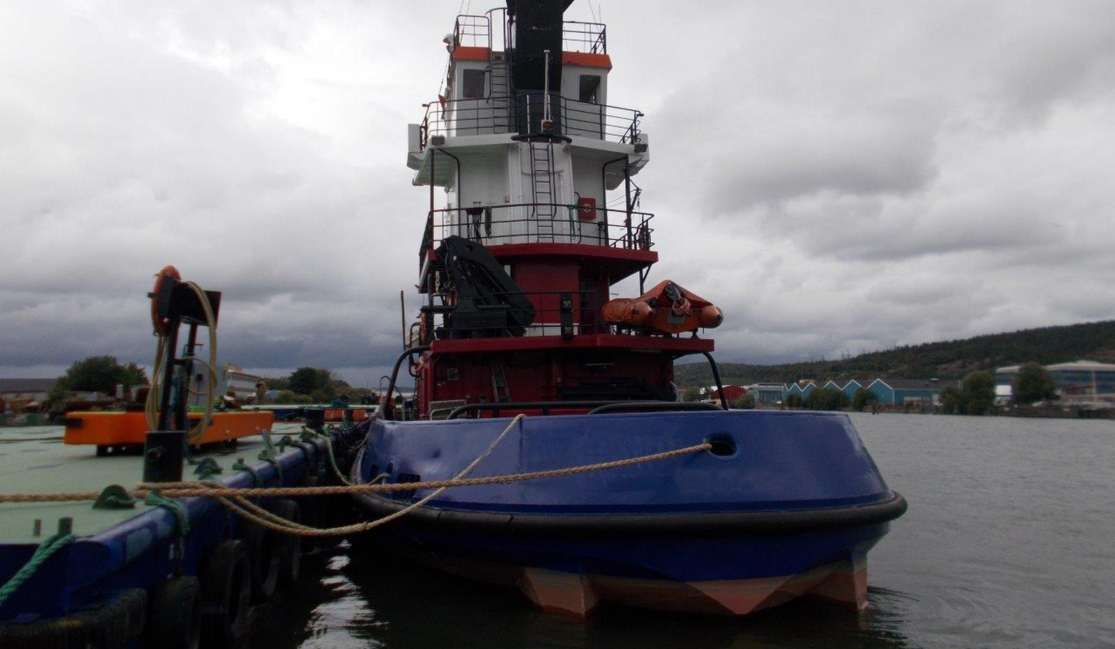 Tug and Barge combination aft view