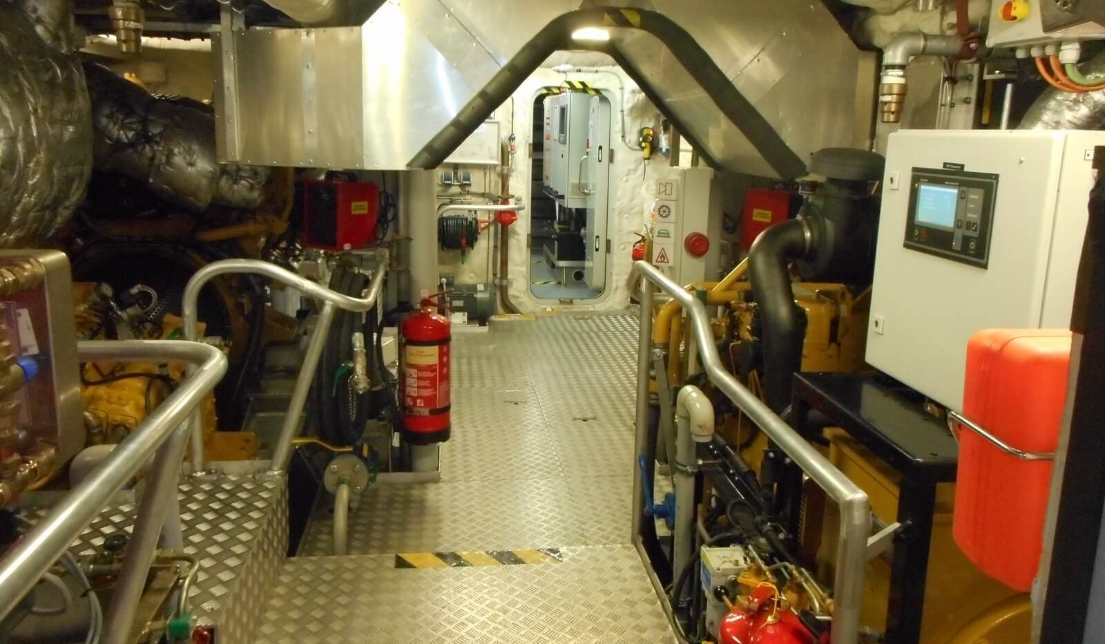 Overview of engine room on Fast Crew Supplier vessel