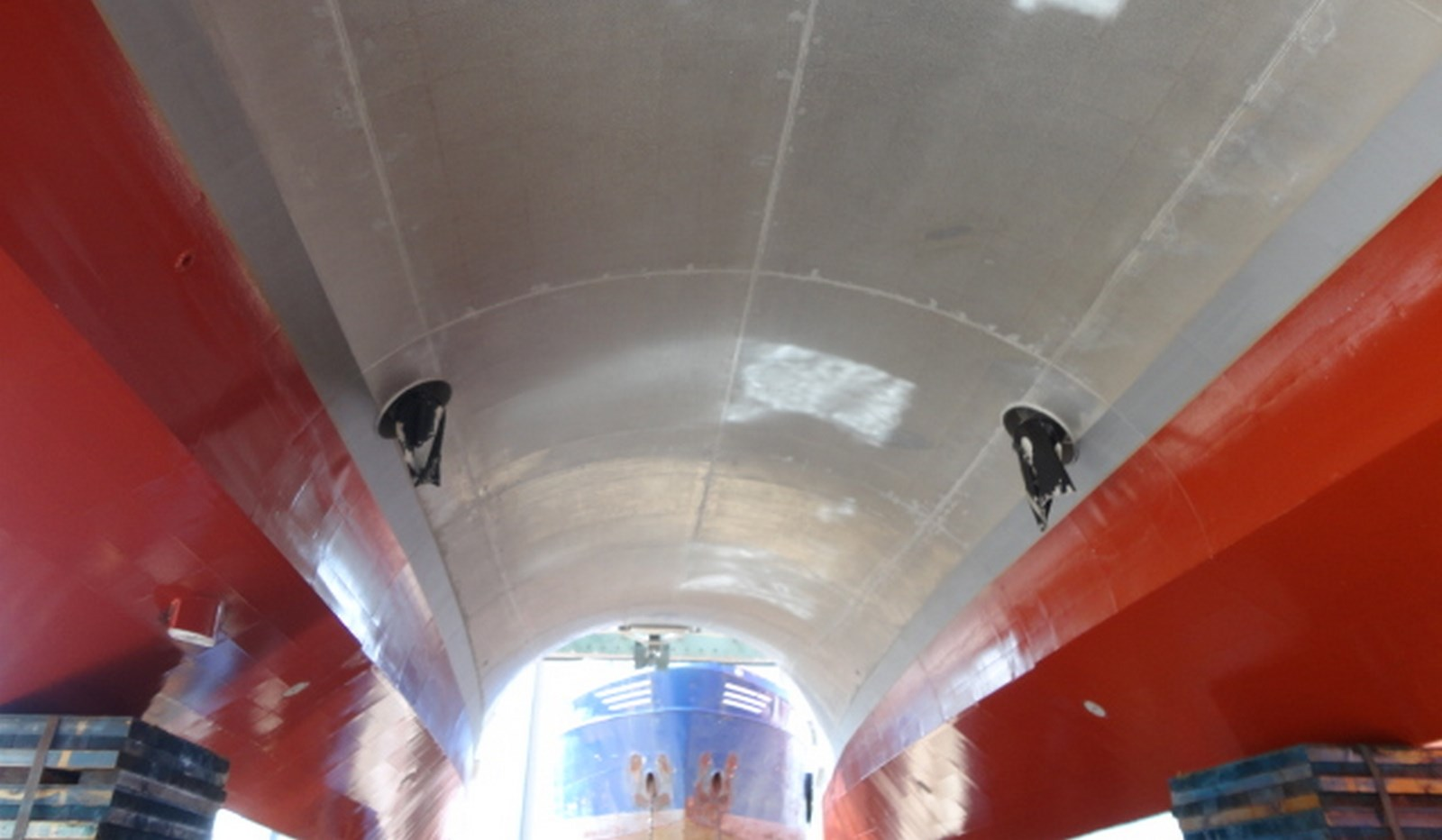 Twin Axe in drydock with fixed pitch propellers