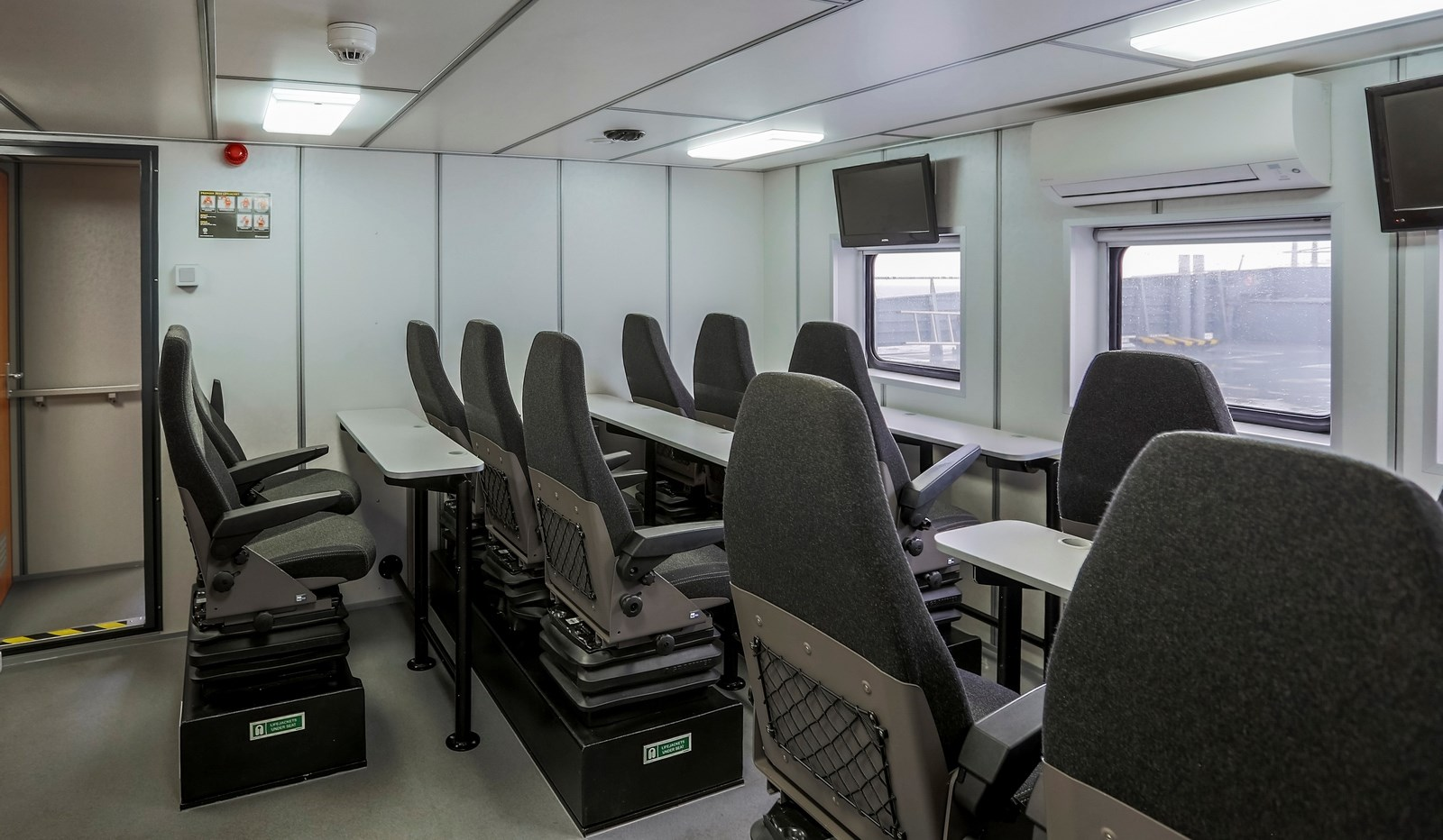 Twin Axe passenger area with 12 motion dampening seats