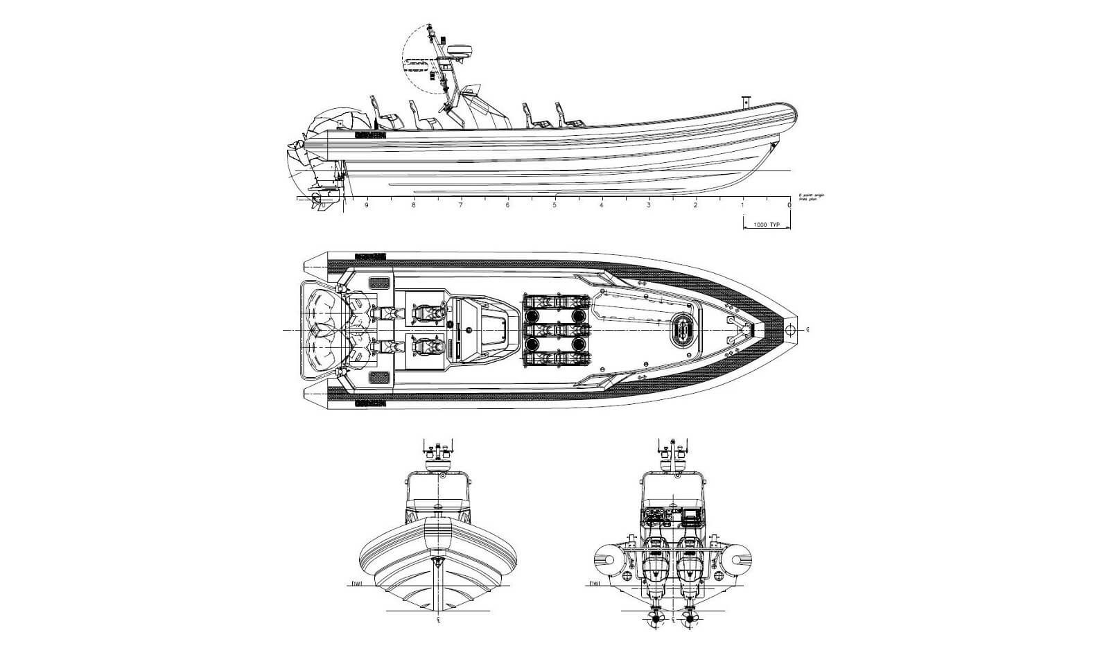 General Arrangement of Damen RHIB 1050 outboard