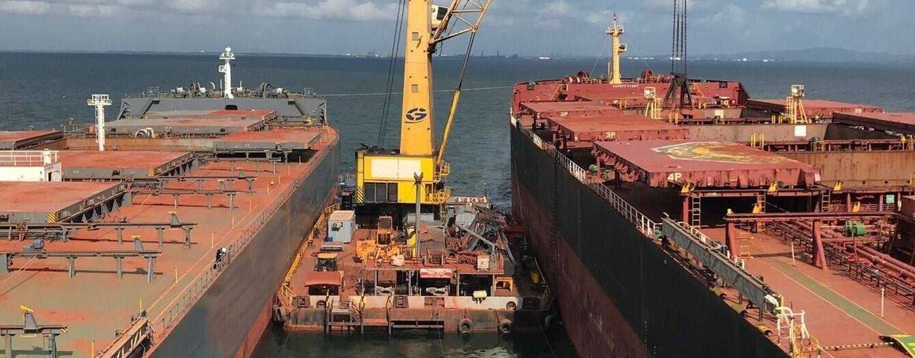 Transshipment barge with crane (2 sisters) for sale