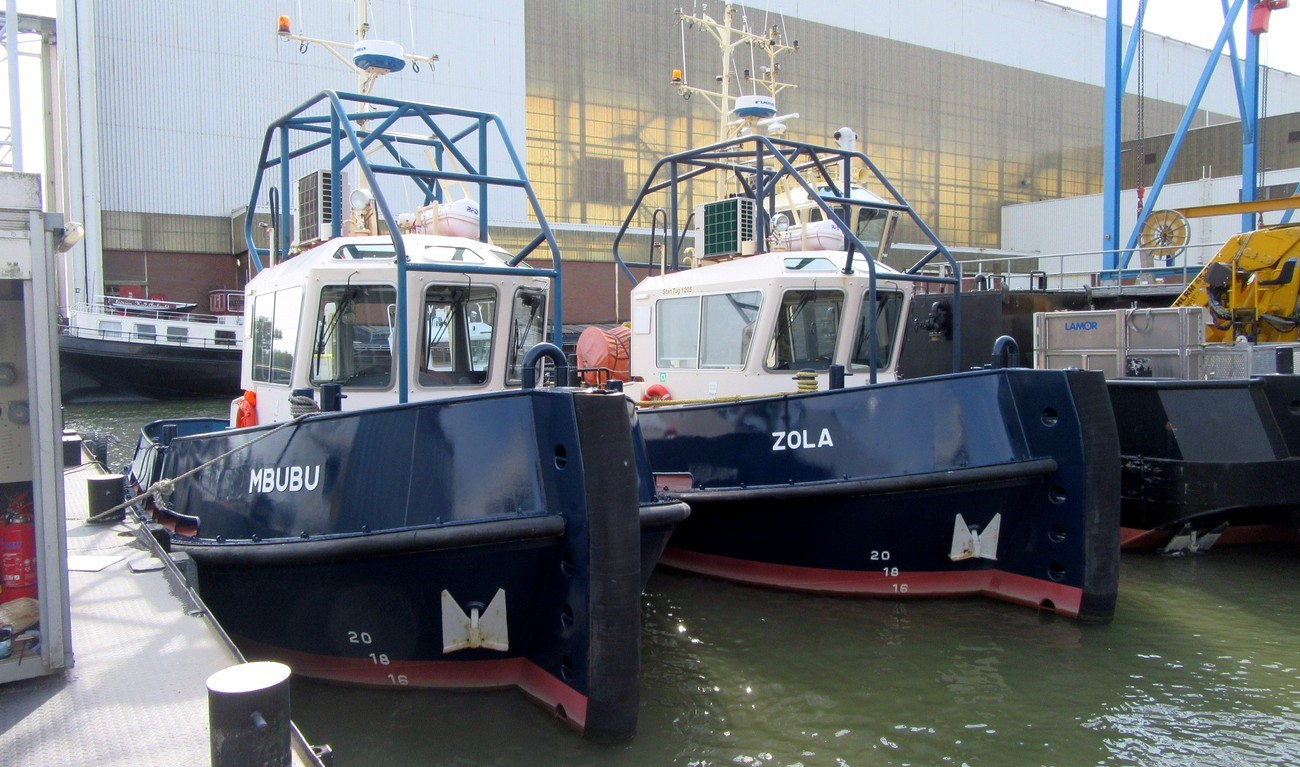 "Two sister tugboats ""Mbubu"" and ""Zola"" have been sold to J.W. van Stee"""